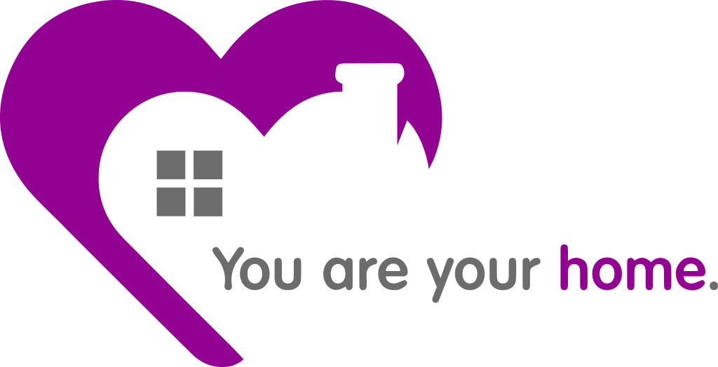 You are your home | Minimal design with purple heart and a bit of gray elements